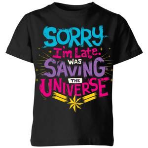 T-Shirt Captain Marvel Sorry I'm Late - Nero - Bambini