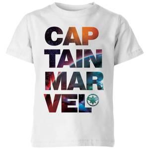 Captain Marvel Space Text Kids' T-Shirt - White
