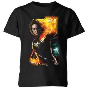 T-Shirt Captain Marvel Galactic Shine - Nero - Bambini