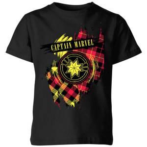 Captain Marvel Tartan Patch Kids' T-Shirt - Black