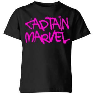 Captain Marvel Spray Text Kids' T-Shirt - Black