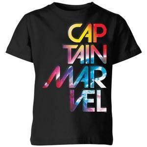 Captain Marvel Galactic Text Kids' T-Shirt - Black
