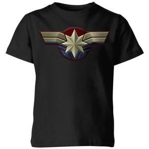 Captain Marvel Chest Emblem Kids' T-Shirt - Black