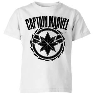 T-Shirt Captain Marvel Logo - Bianco - Bambini