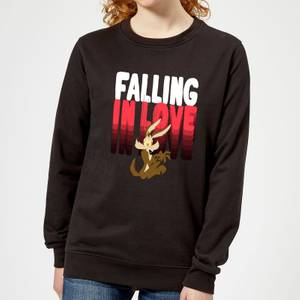 Looney Tunes Falling In Love Wile E. Coyote Women's Sweatshirt - Black