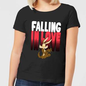 Looney Tunes Falling In Love Wile E. Coyote Women's T-Shirt - Black