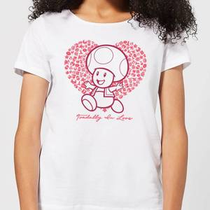 Super Mario Toadally In Love Women's T-Shirt - White