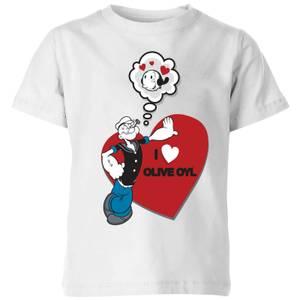 Popeye I Love Olive Oyl Kids' T-Shirt - White