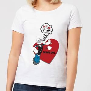 Popeye I Love Olive Oyl Women's T-Shirt - White