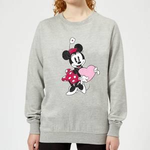 Disney Minnie Mouse Love Heart Women's Sweatshirt - Grey