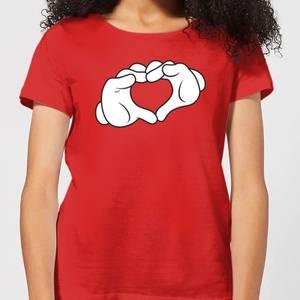 Disney Mickey Heart Hands Women's T-Shirt - Red