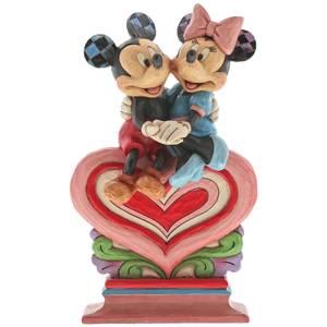 Heart to Heart, Figurine Mickey Mouse et Minnie sur un cœur (17,5cm)– Disney Traditions