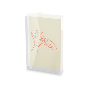 Sexy Hand Gesture Glass Block - 80mm x 60mm