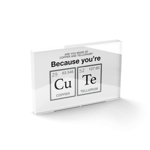 You're Cute Glass Block - 80mm x 60mm