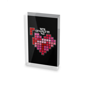 You Complete Me Glass Block - 80mm x 60mm