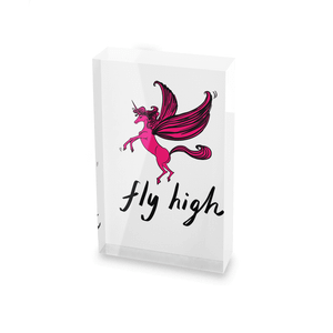 Rock On Ruby Fly High Glass Block - 80mm x 60mm