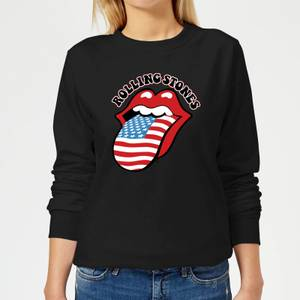Rolling Stones US Flag Women's Sweatshirt - Black