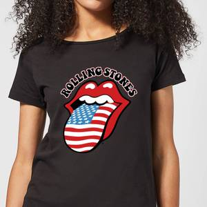 Rolling Stones US Flag Women's T-Shirt - Black