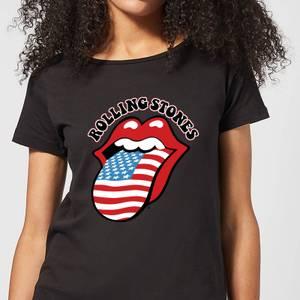 Rolling Stones US Flag Damen T-Shirt - Schwarz