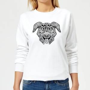 Mr Pickles Pattern Face Women's Sweatshirt - White