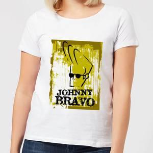 Johnny Bravo Distressed Women's T-Shirt - White