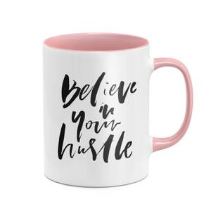 Believe In Your Hustle Mug - White/Pink