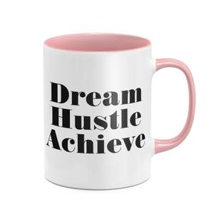 Dream Hustle Achieve Mug - White/Pink