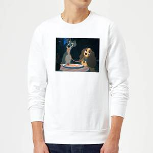 Disney Lady And The Tramp Spaghetti Scene Sweatshirt - White