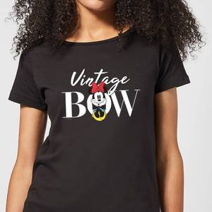 Disney Minnie Mouse Vintage Bow dames t-shirt - Zwart