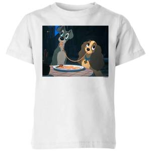Disney Lady And The Tramp Spaghetti Scene Kids' T-Shirt - White