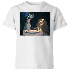 Disney Lady en de Vagebond Spaghetti Scene kinder t-shirt - Wit