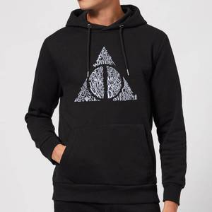 Harry Potter Deathly Hallows Text Hoodie - Black