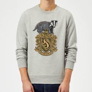 Harry Potter Hufflepuff Drawn Crest Sweatshirt - Grey