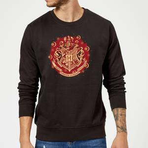 Harry Potter Hogwarts Christmas Crest Sweatshirt - Black
