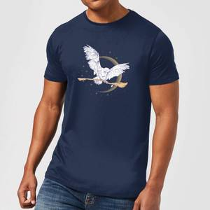 Harry Potter Hedwig Broom Men's T-Shirt - Navy