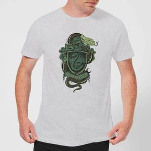 Harry Potter Slytherin Drawn Crest Men's T-Shirt - Grey