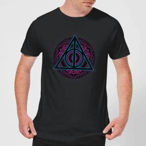 Harry Potter Deathly Hallows Neon Men's T-Shirt - Black