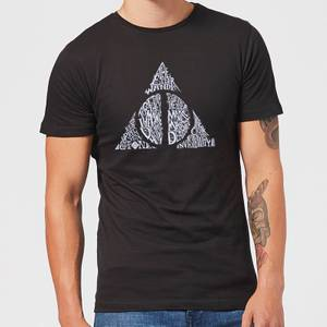 Harry Potter Deathly Hallows Text Men's T-Shirt - Black