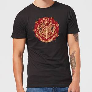Harry Potter Hogwarts Christmas Crest Men's T-Shirt - Black