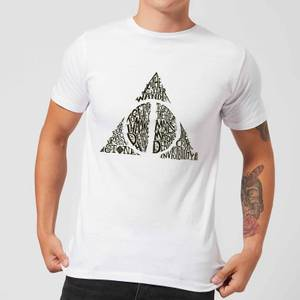 Harry Potter Deathly Hallows Text Men's T-Shirt - White