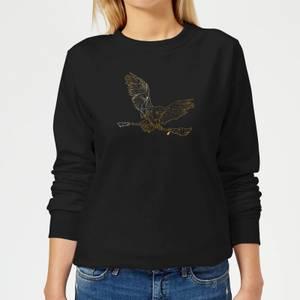 Harry Potter Hedwig Broom Gold Women's Sweatshirt - Black