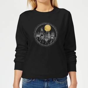 Harry Potter Hogwarts Castle Moon Women's Sweatshirt - Black