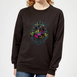 Harry Potter Hogwarts Neon Crest Women's Sweatshirt - Black