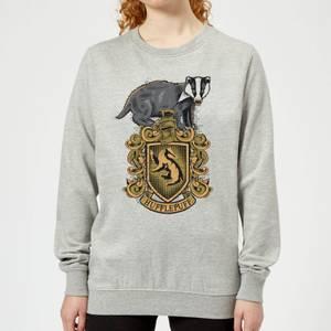 Harry Potter Hufflepuff Drawn Crest Women's Sweatshirt - Grey