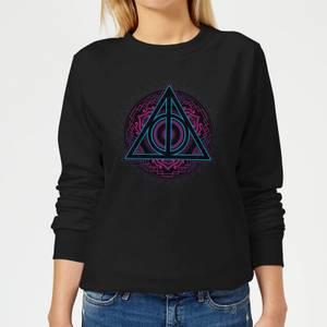 Harry Potter Deathly Hallows Neon Women's Sweatshirt - Black