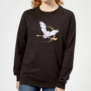 Harry Potter Hedwig Broom Women's Sweatshirt - Black