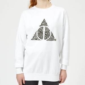 Harry Potter Deathly Hallows Text Women's Sweatshirt - White