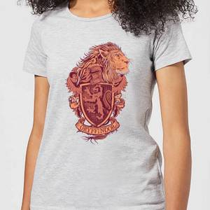 Harry Potter Gryffindor Drawn Crest Women's T-Shirt - Grey