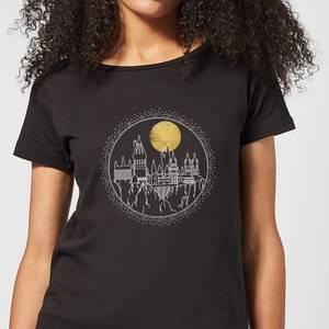 Harry Potter Hogwarts Castle Moon Women's T-Shirt - Black