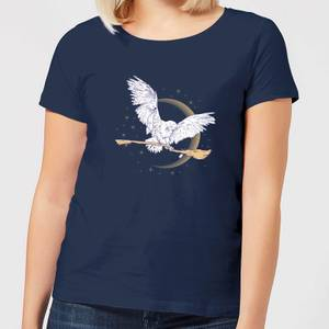 Harry Potter Hedwig Broom Women's T-Shirt - Navy